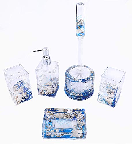 Locco Decor 5 Piece Acrylic Liquid 3D Floating Motion Bathroom Vanity Accessory Set Shell