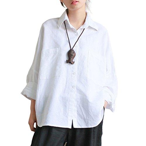 Aeneontrue Womens Linen Raglan Sleeve Loose Button Down Shirts Blouses Front 2 Big Pockets