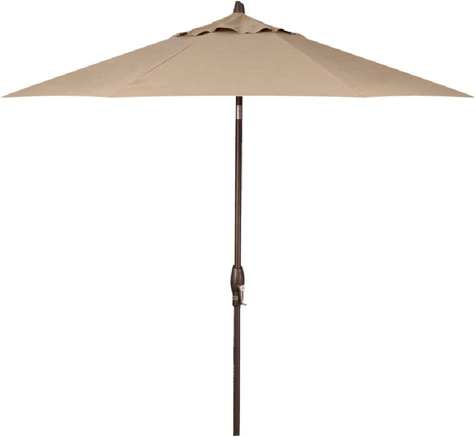 Treasure Garden 9-Foot Auto-Tilt Market Umbrella with Bronze Frame and Obravia (4 YR Fabric Warranty) Fabric: Sand