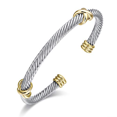 Ofashion Bracelet Designer Brand Inspired Double Cross Cable Wire Cuff Bracelets for Women Double Cable Bangle Bracelet