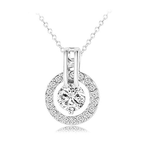 (NYKKOLA 18k Sliver Plated Austrian Crystal Circle Necklace Pendant with 18