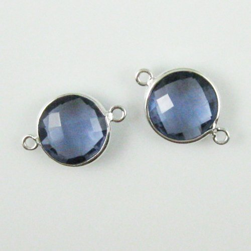 Bezel Gemstone Connector - Sterling Silver - 12mm Faceted Coin Shape Charm - Iolite Quartz (Sold Per 2 Pieces) (Quartz Faceted Coin)