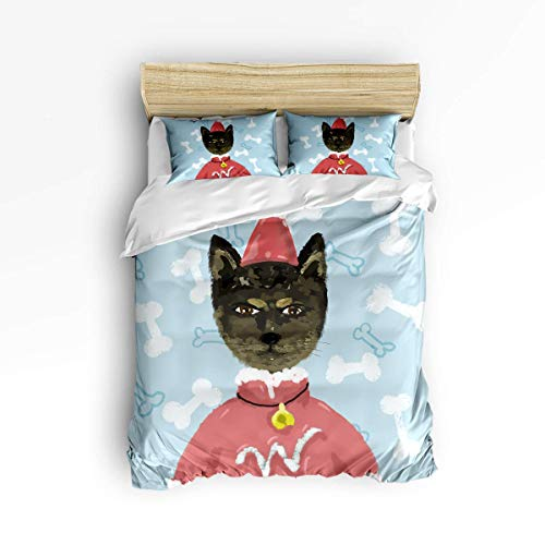 LanimioLOX 3 Piece Bedding Set, Watercolor Cat wear Christmas Costum Pattern 3 pcs Duvet Cover Set Bedspread Daybed for Childrens/Kids/Teens/Adults Full]()