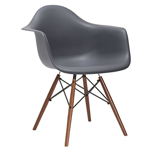 Poly and Bark Vortex Arm Chair Walnut Leg, Gray
