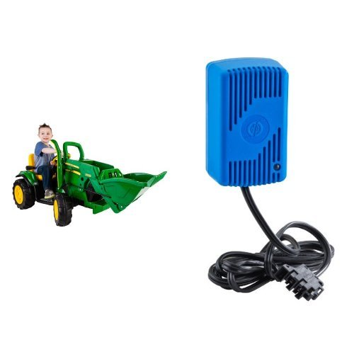 peg-perego-john-deere-green-ground-loader-ride-on-with-12-volt-quick-charger-bundle