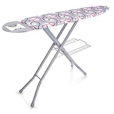 Perilla AVRORA 4 Leg Ironing Board 100% Cotton Cover with Linen Rack & Iron Rest