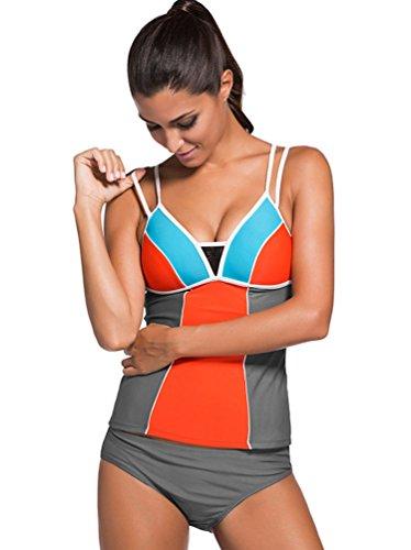 YOUJIA Mujeres Comodo y atractivo Tankini Color de empalme Traje de Baño de Dos Piezas Naranja