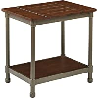 AVE SIX Sullivan Rustic End Table, Walnut and Pewter Finish