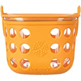 Lifefactory 2-Cup BPA-Free Glass Food Storage and Bakeware with Protective Silicone Sleeve and Lid, Orange