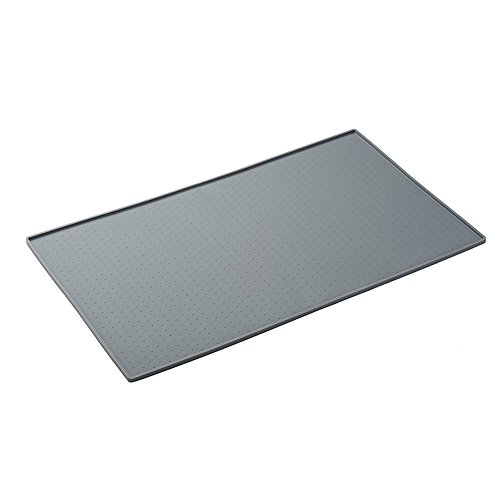 boby Large Silicone Cat Dog Bowl Food Mat Waterproof Pet Water Mat Feeding Non Slip Pet Mat with Lip Gray 60×40…