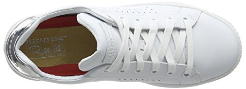 Para white Trim Mujer Blanco sivler Durapatent 73630 Leather Leather Skechers Zapatillas wv6xqZAX