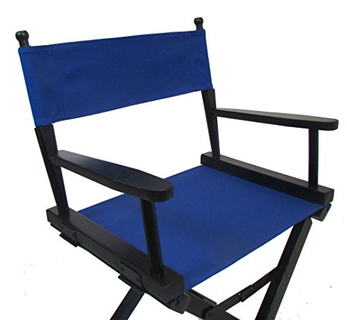 PERSONALIZED IMPRINTED Gold Medal Contemporary 18 Table Height Black Frame Directors Chair – Royal Blue