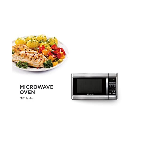 Emerson 1.3 CU. FT. 1000 Watt, Touch Control, Stainless Steel Front, Black Cabinet Microwave Oven, MW1338SB 5