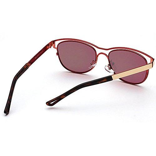 Hombres Protección Personality Conducción de Gafas Color Peggy al UV de Sol Mujeres para Travelling Rojo Libre Gu Unisex Plata Colored Lens Beach Aire EY7zwq