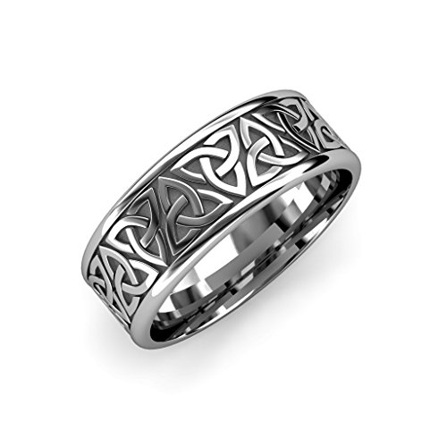 TriJewels High Polish 8mm Flat Celtic Trinity Knot Womens Wedding Band in 14K White Gold.Size 10.0