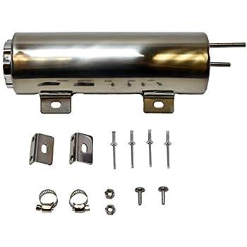 3x8 Radiator Overflow Tank With Drain Polished Aluminum 20oz Cap W// Hardware