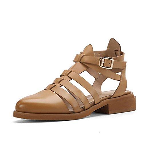 Mr. LQ - Zapato de Roma del cuero genuino de la manera de la mujer apricot