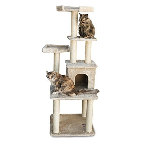Majestic Pet Products 64 inch Beige Casita Cat Furniture Condo House Scratcher Multi Level Pet Activity Tree ()