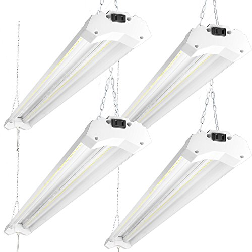 Hanging Garage (Hykolity 4FT 40W Linkable LED Shop Light with Pull Chain, 4800lm Surface Mount/Hanging Garage Utility Light with Cord, 5000K Workbench Light, 64w Fluorescent Fixture Replacement, ETL and DLC- 4 Pack)
