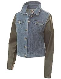 Miss London Ladies Denim Jacket with Faux Leather Sleeves