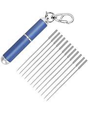 12Pcs Portable Titanium Toothpick Set, Stainless Steel Metal Hard Toothpicks with Holder, Reusable Multi-Function Food Fruit Fork, Kitchen Outdoor Ultra Light Toothpick(Blue)