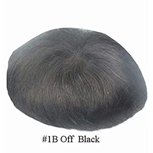 N.L.W. Mens toupee hair replacement System human hair system hairpiece Swiss Lace base 10X8″,One-fit-all large size Off Black 6 inch Gents hairpieces