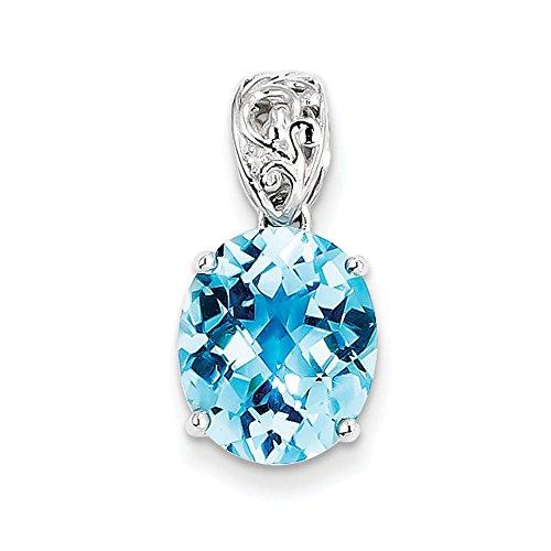 Sterling topaze bleue argentée et pendentif diamant-JewelryWeb