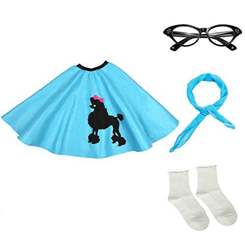 50s Girls Costume Accessory Set – Poodle Skirt, Chiffon Scarf, Cat Eye Glasses,Bobby Socks