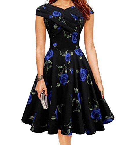 Coolred Women's Fairy Fashion Flared Print Sundress Waist Dress Blue L (Plus Size Fairy Dress)