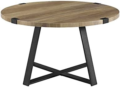Amazon Com Pemberly Row 30 Metal Coffee Table In Rustic Oak And