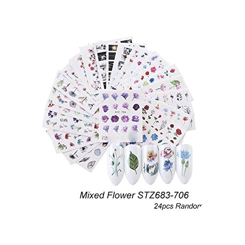 24Pcs Nail Sticker Flower Watermark Slider Sets Colorful Polish Decals Wraps for Manicure Nail Art Decorations Tool,Stz683-706 24Pcs