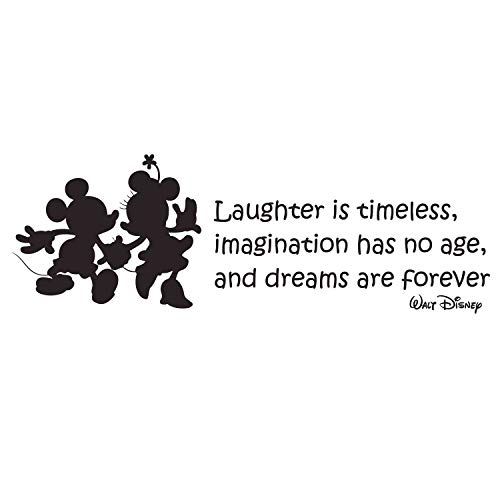 (CustomVinylDecor Laughter is Timeless Walt Disney Quote Vinyl Wall Decal with Mickey and Minnie Mouse Silhouettes | Black, Size: 33inch x 11inch )