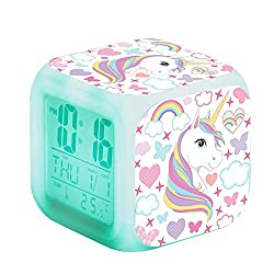 LayOPO LED Digital Alarm Clock Cute, Cube Alarm Clock 7 Colors Change Wake Up Bedside Clock Night Glowing with Thermometer & Alarm & Date Gifts for Kids Girls Women Bedroom