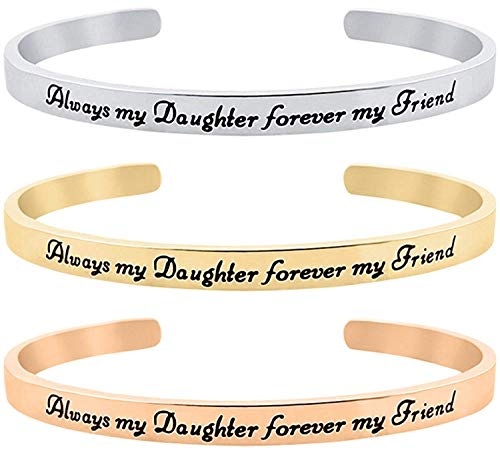 (Daughter Valentine Jewelry Gift from Mom, Dad - Set of 3 Bracelets - ''Always My Daughter Forever My Friend'' Inspirational Sentimental Mantra Message Cuff Bracelets (Silver, Gold, Rose Gold Set)