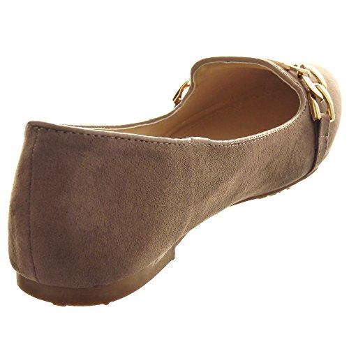Sopily - Zapatillas de Moda Bailarinas Tobillo mujer Hebilla metálico Talón Tacón ancho 1 CM - Beige