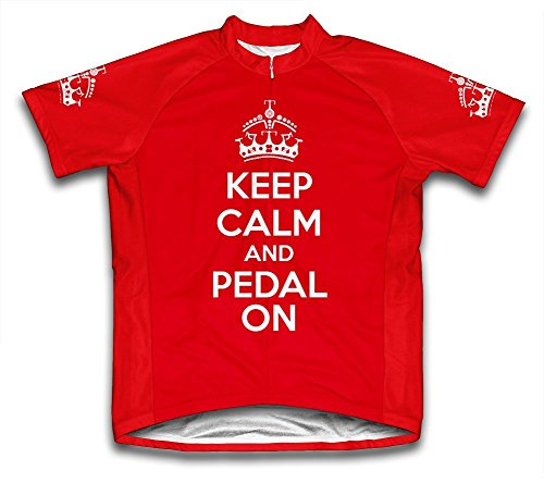 Scudo Keep Calm and Pedal On Microfiber Short-Sleeved Cycling Jersey, Red, S
