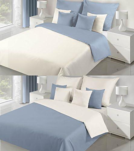 Eurofirany Doble Cara Cama 180 x 200 cm Color Crema Azul algodón (satén satén Dos Fundas de Almohada 70 x 80 cm, 3 Piezas: Amazon.es: Hogar