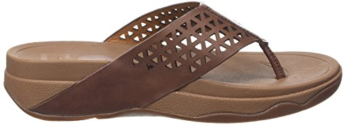 Fitflop Leather Lattice Surfa - Sandalias Mujer Marrón - Brown (Dark Tan 277)