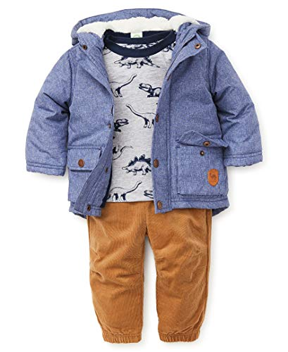 Little Me Baby Boy's Jacket Set Outerwear, dino light blue chambray/camel, 24 Months ()