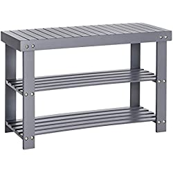 SONGMICS Bamboo 3-Tier Shoe Rack Bench, Shoe Organizer, Storage Shelf, Holds Up to 264 Lb, Ideal for Entryway Hallway Bathroom Living Room and Corridor Gray ULBS04GY
