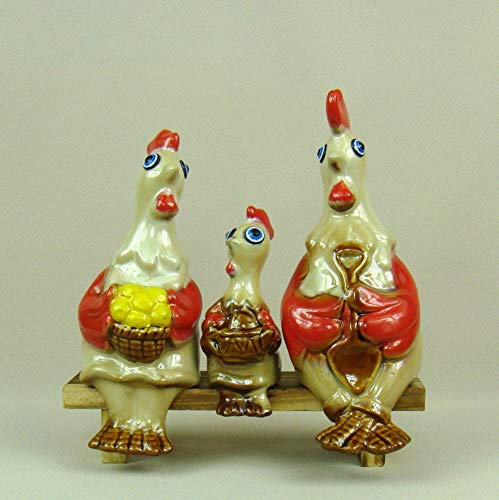 Statues Figurines Sculptures,Cute Porcelain Chicken Ceramics Figurines Family Rustic Animal Miniatures Creativity Decor Gift Craft for Birthday and Parents