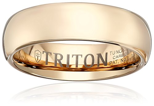 Triton Men's Rose Tungsten 6mm Domed Comfort Fit Wedding Band, Size 9 by Amazon Collection