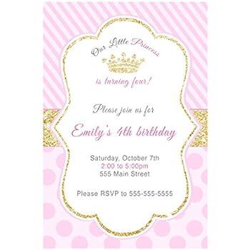 30 Invitations Princess Birthday Party Pink Gold Photo