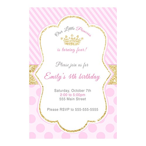 30 Invitations Princess Birthday Party Pink Gold Photo Paper
