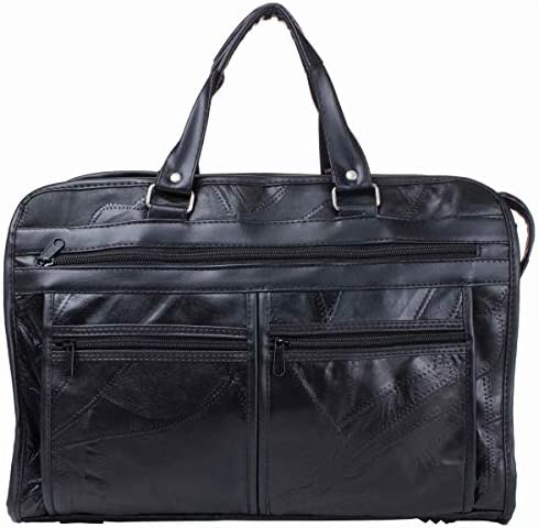 Maxam BCLBC Italian Mosaic Design Leather Briefcase, 16 Inch, Black