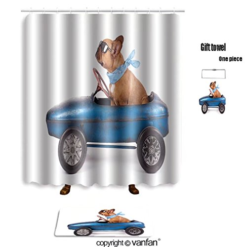 vanfan bath sets with Polyester rugs and shower curtain french bulldog enjoys a ride in pedal car iso shower curtains sets bathroom 72 x 88 inches&31.5 x 19.7 inches(Free 1 towel and 12 (Iso Sunshine Girl)