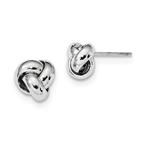 Solid 14k White Gold Polished Love Knot Post Earrings (10mm x 10mm) by Sonia Jewels