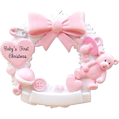Personalized Baby's 1st Christmas Wreath Tree Ornament 2019 - White Glitter Round Ribbon Teddy Bear Toy Heart Pacifier Girl's New Mom Shower Grand-Daughter Kid Gift Year - Free Customization (Pink)