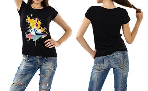Turnen_X schwarzes modernes Damen / Frauen T-Shirt mit stylischen Aufdruck