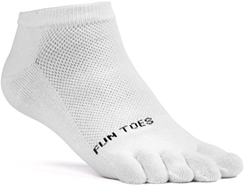 FUN TOES Women's Cotton Toe Socks-Breathable-6 PAIRS Pack-Size 9-11-Lightweight (3 Black/ 3 White) by FUN TOES (Image #2)